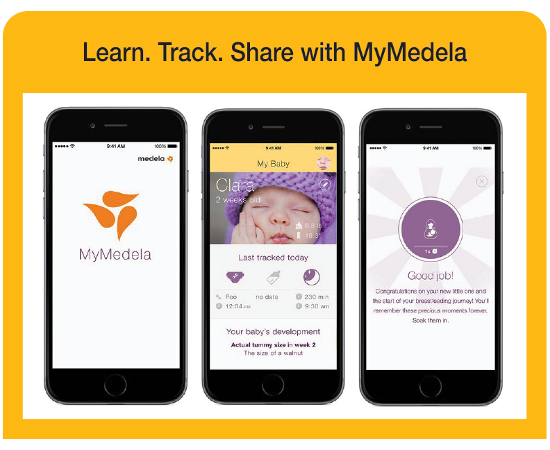An image of phones showcasing the MyMedela app.
